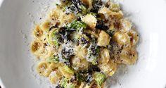 Orecchiette Carbonara with Charred Brussels Sprouts - Bon Appétit