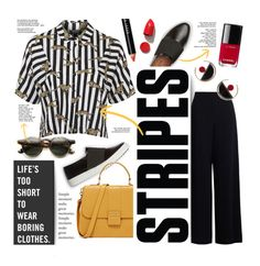 """""""Never Bored..."""" by clovers-mind ❤ liked on Polyvore featuring Topshop, Bobbi Brown Cosmetics, Chanel, Butter London, Marni, NARS Cosmetics, WorkWear, stripes, 2016 and Wintertospring"""