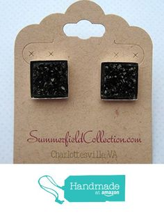 Silver-tone and Black Geometric Square Shaped Chunky Faux Druzy Stud Earrings 12mm Statement from Summerfield Collection http://www.amazon.com/dp/B01CB06U3M/ref=hnd_sw_r_pi_dp_x7Y1wb0ASZF49 #handmadeatamazon