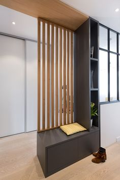 end of stairs in the basement create landing and room separation appartement renovation lyon architecte interieur - - Living Room Partition Design, Room Partition Designs, Living Room Divider, Wood Partition, Partition Ideas, Room Divider Bookcase, Flur Design, Apartment Renovation, Renovation Design