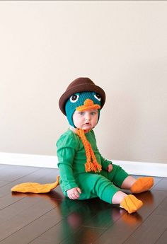She's a semi-aquatic baby of action in her Perry the Platypus costume.