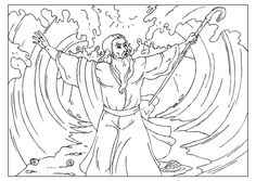 Moses Parts The Red Sea Bible Coloring Page