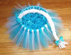Mini Frozen Elsa Easter Tutu Basket. Princess Character by DaddyzLittleDivaShop