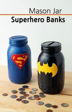Mason Jar Superhero Banks - Fireflies and Mud Pies #kidscrafts #masonjarcrafts by caroline