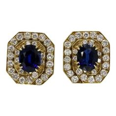 Vintage Octagonal Natural Sapphire and Diamond Clip Earrings Unusual Art, Natural Sapphire, Art Deco Era, Gold Filigree, Clip Earrings, Fudge, Vintage Jewelry, Jewelry Necklaces, White Gold