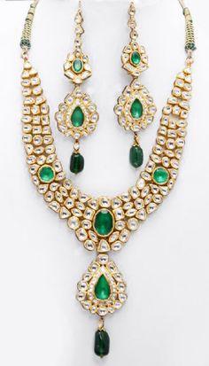 Kundan Polki moon stones and emeralds
