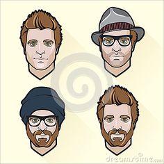 Set of flat design men s portraits.