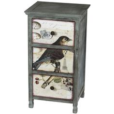 Wood accent chest showcasing a bird motif against a flowing carte postale background.     Product: Accent chestConstr...