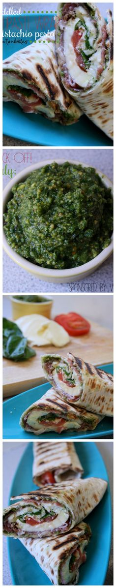This Griddled Caprese Antipasti Wrap with Rocket Pistachio Pesto is a true taste of Italy and just what you need to munch during the England v Italy World Cup game on 14 June. Wrap Recipes, New Recipes, Favorite Recipes, Healthy Recipes, Gluten Free Sandwiches, Pistachio Pesto, Ground Beef Recipes Easy, Appetizer Recipes, Appetizers