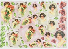Rice Paper for Decoupage Decopatch Scrapbook Craft Sheet Vintage Lady with Roses
