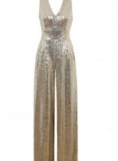 853e1615ba9 Gold Sequin Sleeveless Jumpsuit with V-Neckline