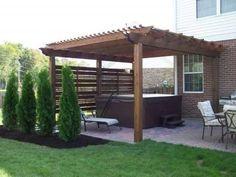 Oversized pergola for hot tub patio. Oversized pergola for hot tub patio.