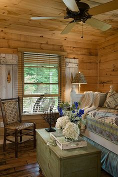 Coventry Log Homes | The Silver Ranch Twin Bed in guest room