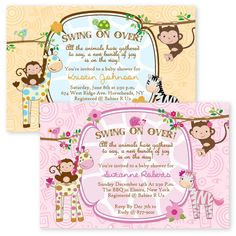 Jungle Baby Shower Invitations Girl Boy Twin Giraffe Zebra Monkey Invitation in Home & Garden, Greeting Cards & Party Supply, Greeting Cards & Invitations | eBay