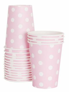 pink polka dot party drinking cups