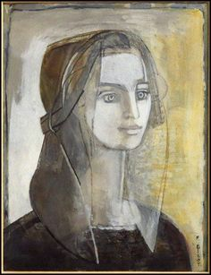 "FRANÇOISE GILOT ""The Greek peasant girl"" 1969 mixed media on paper"