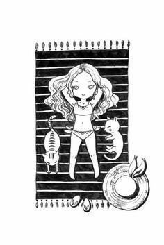 "Saatchi Art Artist Indrė Bankauskaitė; Drawing, ""Girl on the Beach"" #art"