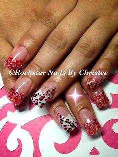 Rockstar nails by Christee - cheeta glitteracrylic nails