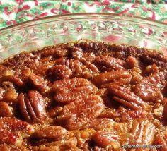 Gluten Free Pecan Pie (glass pie dish, no shell). Recipe Link --> http://glutenfreeeasily.com/easy-crustless-pecan-pie/