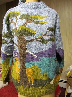 Ravelry: Landscape Wildlife Pullover pattern by Nicky Epstein Intarsia Knitting, Knitting Stitches, Knitting Designs, Knitting Patterns Free, Cool Jumpers, Pull Jacquard, Knitting Blocking, Crochet Shoulder Bags, Fair Isle Knitting