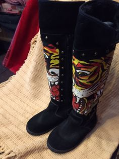 AMAZING BARGAIN OF THE DAY Unique, vintage, and never worn: Ed Hardy Designs hand-painted, shearling-lined, tall black, suede boots. Size: women's 6(US) Original retail price ($390) - SPECIAL JULEIGH'S SALE PRICE $75!!!