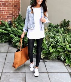 dfe83be085aeb white top and denim jacket with black spanx leggings and sneakers-casual  look