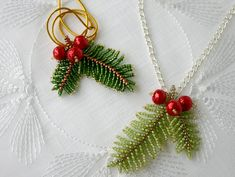 ChristmasPineBranch pendant beading TUTORIAL - Step by step tutorial for my ChristmasPineBranch pendant with hidden hook. Tutorial includes 4 page - Seed Bead Patterns, Beaded Bracelet Patterns, Beading Patterns, Beaded Bracelets, Beaded Earrings, Embroidery Bracelets, Beaded Christmas Ornaments, Christmas Jewelry, Bead Jewelry