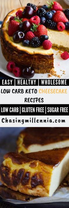 18 of the best, easy and healthy low carb cheesecake recipes - No Bake Keto Friendly Desserts, Low Carb Desserts, Easy Desserts, Dessert Recipes, Diabetic Friendly, Dinner Recipes, Easy Recipes, Keto Recipes, Flour Recipes