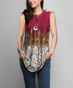 Look at this #zulilyfind! Red & Gray Paisley Sleeveless Notch Neck Pin-Tuck Tunic - Plus #zulilyfinds