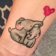Mother and Baby Elephant Balloon tattoo - Disney Tattoo Ideas - The Best Elephant Tattoo Designs - Cute Elephant Tattoo Designs and Ideas - Sexy Thigh Tattoo, Small Elephant Tattoo, Elephant Outline, Elephant Tattoo Meanings Feather Tattoos, Forearm Tattoos, Body Art Tattoos, Sleeve Tattoos, Tattoo Thigh, Trendy Tattoos, Cute Tattoos, Small Tattoos, Tatoos