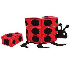 These Ladybug Fancy Centerpiece Favor Boxes look like a ladybug when fully assembled. Each Ladybug Fancy Centerpiece contains twelve favor boxes.