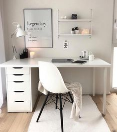 The Most Neglected Fact About White Office Decor Exposed -, the most born fact . - The Most Neglected Fact About White Office Decor Exposed -, the most overlooked fact about exposed - Study Room Decor, Cute Room Decor, Room Ideas Bedroom, Den Decor, Home Office Space, Home Office Design, Office Spaces, Work Spaces, Home Office Bedroom