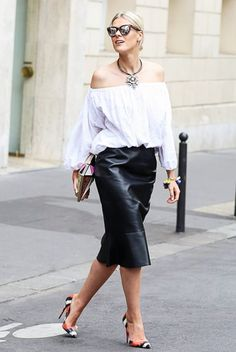 White off-the-shoulder blouse + leather pencil skirt + printed heels