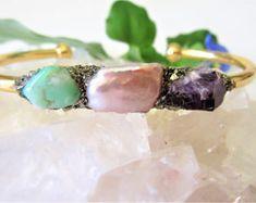 Birthstone Jewelry - Raw Crystal Bracelet - Raw Stone Gemstone Jewelry - Wedding Bridal Jewelry - June Birthday