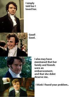 Jane Austen humor is legit! Mr. Darcy, Jane Austen Books, Jane Eyre, Dc Movies, Funny Movies, Drama Movies, Pride And Prejudice, Prejudice Quotes, Book Lovers