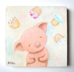 Cupcake Dreams (I) Original Acrylic Painting (Cute pig and cupcakes in pastel color ) by MiKa Art