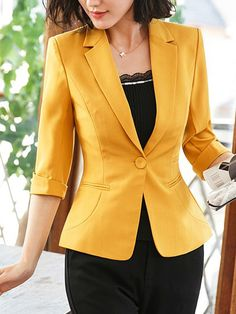 Fold-Over Collar Single Button Plain Half Sleeve Blazers How To Wear Blazers, Blazers For Women, Suits For Women, Jackets For Women, Clothes For Women, Blazer Outfits, Blazer Fashion, Fashion Outfits, Blouse Styles