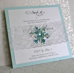 Snowflake and Lace Invitation / Winter Wonderland / Frozen / Beaded Snowflake Invitation / Winter Wedding Invitation Snowflake Invitations, Lace Invitations, Winter Wedding Invitations, Invitation Kits, Invitations Online, Invitation Envelopes, Frozen Wedding, Snow Wedding, Winter Wonderland Wedding