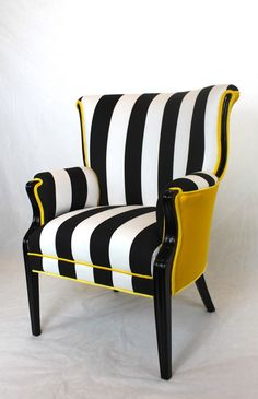 Charmant Sold  CAN REPLICATE Made In The USA Black And White Striped Vintage Round  Wing Back Chair With Yellow Velvet | For The Home | Pinterest | Modern  Chairs, ...