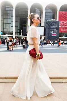 Liz wears Topshop with a Tiffany clutch #streetstyle #NYFW