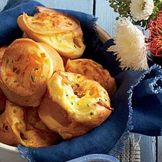Jalapeño-Cheddar Popovers | MyRecipes.com  Saw this in Southern Living magazine. Love'em. Easy and delish.