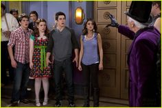 Selena, Jake & David: The Power of Three: Photo Jake T. Austin, Selena Gomez and David Henrie come together to defeat Gorog in this new still from Wizards of Waverly Place. David Henrie, Jennifer Stone, Alex Russo, Wizards Of Waverly Place, Jake T, Disney Channel, Season 4, Selena Gomez, Christmas Sweaters