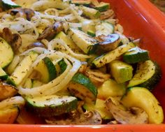 Roasted Zucchini, Mushrooms, and Onions