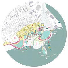 Anne Ma - Wassergeist // Bridgeport South End Landscape Diagram, Landscape And Urbanism, Landscape Plans, Landscape Design, Masterplan Architecture, Urban Architecture, School Architecture, Architecture Diagrams, Online Art Courses