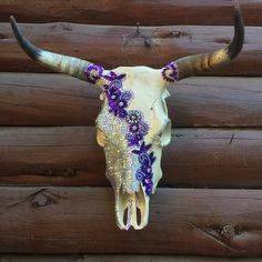 Purple sequin Cow skull Deer Skull Art, Cow Skull Decor, Deer Skulls, Ram Skull, Skull Crafts, Antler Crafts, Antler Art, Painted Animal Skulls, Deer Head Decor