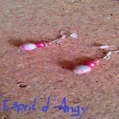 Boucles d'oreilles en argent 925, avec perle nacré rose, perle acrylique rose et perle de jade aux nuances de rose