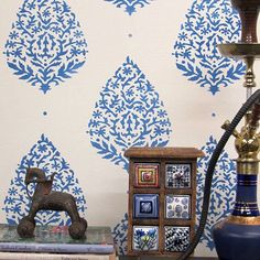 Try wall stencils instead of expensive wallpaper! Cutting Edge Stencils offers the best stencils for DIY decor - stencils expertly designed by professional decorative painters Janna Makaeva and Greg S