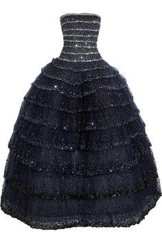Oscar de la Renta|Tiered sequin-embellished tulle gown|NET-A-PORTER.COM