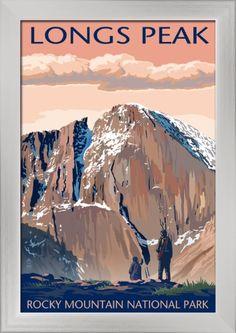 Longs Peak - Rocky Mountain National Park Poster by Lantern Press National Park Posters, Us National Parks, Rocky Mountain National Park, Yosemite National Park, Voyage Usa, Mountain Tattoo, Mountain Drawing, Park Art, Estes Park