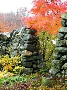 Stone wall around the farm home